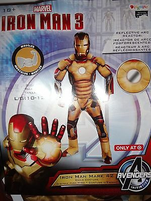 Childs Iron Man 3 Mark 42 Gold and Red Costume Large 10-12 NEW Muscle Chest](Iron Man 3 Kids Costume)