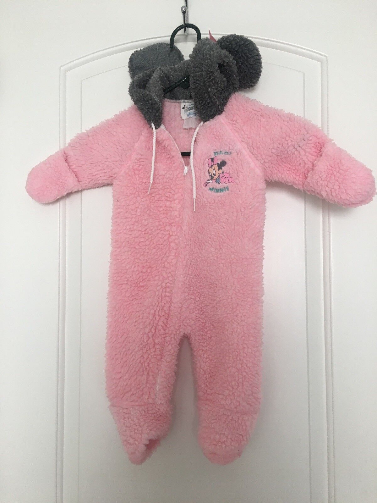 NEW Baby Girls Winter Fleece Coverall 3-6 Mo Pink Disney Minnie Mouse Snowsuit
