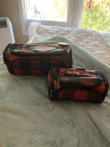 NEW - Lug Duo Trolley Set - Buff Red Black Checker Board Print - $26.05