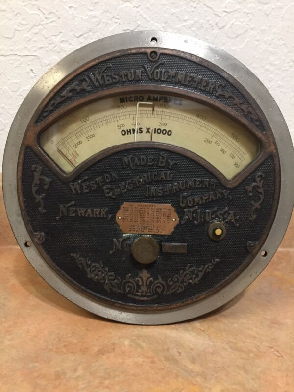 WESTON ELECTRIC VOLTMETER MICRO AMPERES & OHMS LARGE ORNATE FACE PATENT 1901