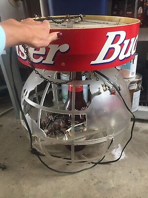 BUDWEISER Beer Clydesdale Wagon Globe Light Man Cave Bar HUGE