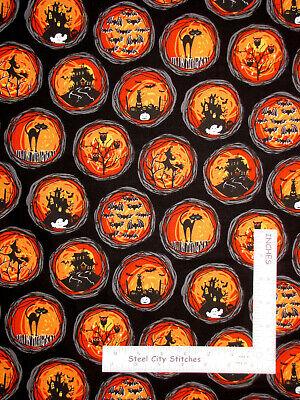 Halloween Pumpkin Cat Bat Black Cotton Fabric Michael Miller CX994 By The Yard - The Halloween Cat