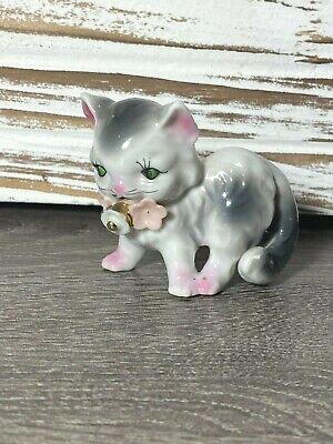 Vintage Mid Century Anthropomorphic Cat/Kitten Figurine w Bell Flowers- Kitsch