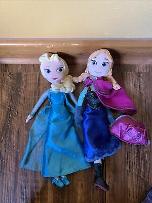 "Disney Frozen ANNA And ELSA Soft Doll Plush 20"" Stuffed Animal Toy Lot 2"