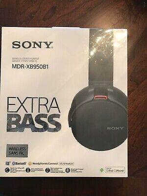 NEW! Sony Extra Bass Bluetooth Wireless Over-the-Ear Headphones - Black XB950B1