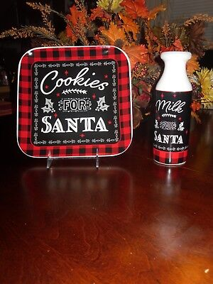 MILK & COOKIES FOR SANTA*PLATE AND MILK JUG*CHRISTMAS HOLIDAY RED BLACK PLAID