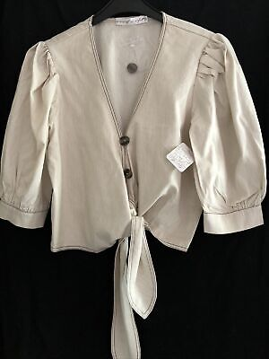 Ministry Of Style Free People Tie Front Blouse Puff Sleeve Size M Uk 10/12 BNWT