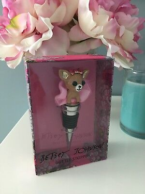 Betsey Johnson RARE Wine BOTTLE STOPPER Alcohol DOG TUTU PAVE CRYSTAL Bar Tool