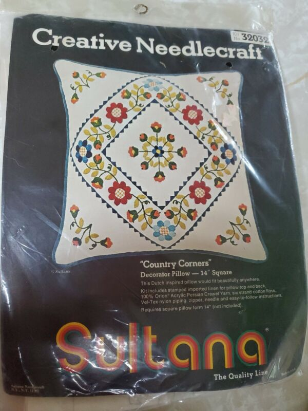 "Vintage Sultana Creative Needlecraft Kit Country Corners 32032 Pillow 14"" Sealed"