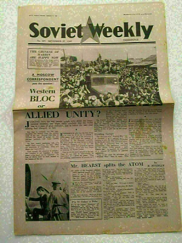 KL) USSR Soviet Weekly Newspaper Manchuria Liberation Atomic September 27 1945