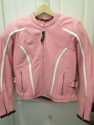 Teknic Womens Leather Padded Motorcycle Jacket with Zippered Liner Size 10 Pink - Zippered Womens Liner