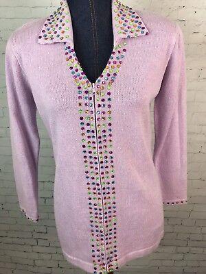 Storybook Knits Cardigan Sweater~Women's Sz XS Lavender/Purple Gems