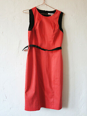 Jonathan Saunders Bright Coral Belted Pencil Dress Size 12 Sleeveless Smart