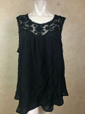 Style Co Lace-trim Swing Top Deep Black Size XXL__ (Lace Trim Swing Top)