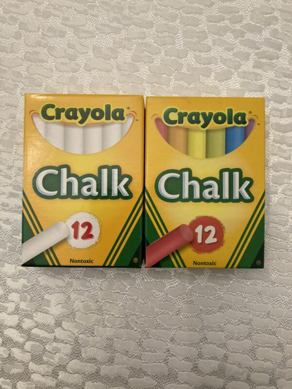 CRAYOLA Colored and White Chalk Combo - 24 Pieces! (2 boxes Of 12) Free Shipping