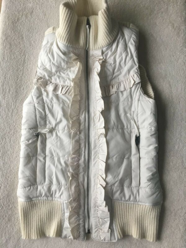 Regular Urban Women`s Jackets Coats Urban Behavior Frilly Vest Full Zip White  L