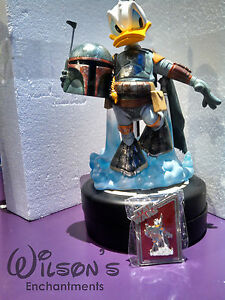 Donald Duck Boba Fett Statue & LE Pin Disney's Star Wars Weekend Medium Big Fig