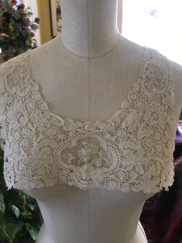Antique French Brussels Lace Collar Circa 1900 Intricate Needlework Floral Net