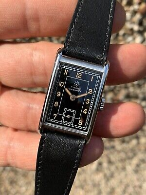 1930/40s Junghans Gilt Dial Tank Mens Watch In Beautiful Condition