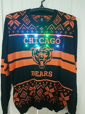 Brand new with tags LED Light Up XMAS Knit Ugly Sweater - NFL Chicago Bears 2XL