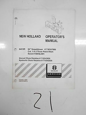 New Holland 84csr 84 Snowblower 3 Point Hitch Operators Manual 87678500 608