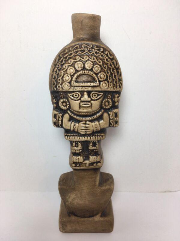"""Vintage Bottle Vase Mayan Aztec Tiki Figural Porcelain 9"""""""