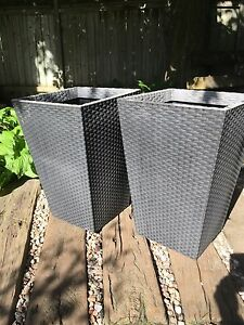 2 Dark Grey Resin Planters