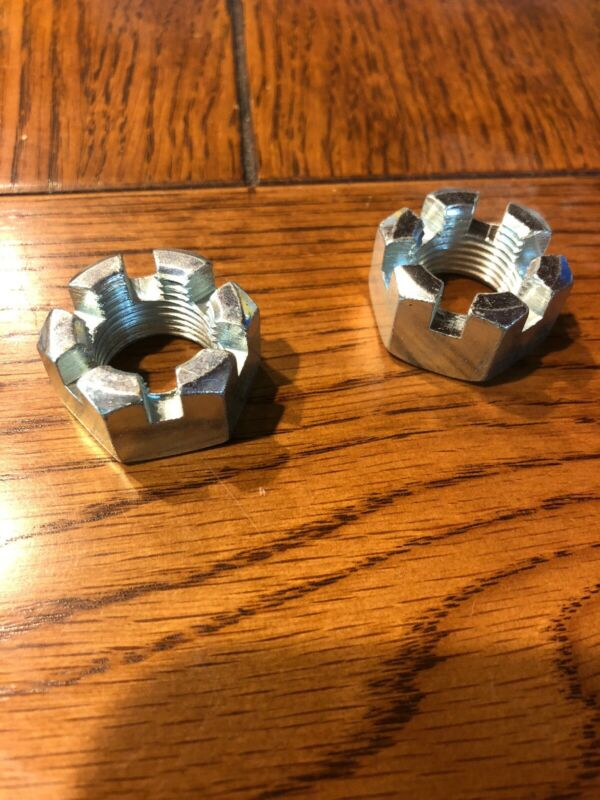 (2) 3/4-16 Slotted Hex Castle Nut Zinc Plated 3/4x16 Fine Thread