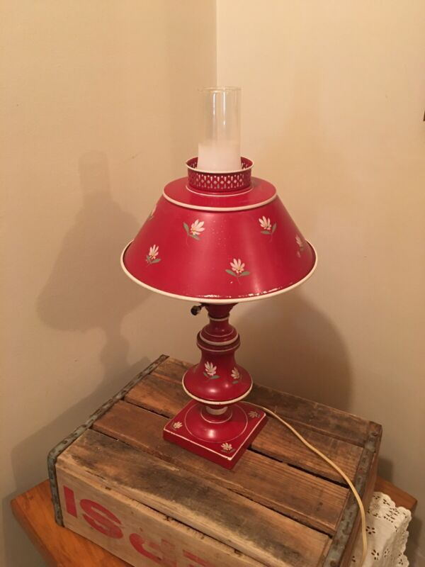Red Floral Metal Vintage Tole Desk Lamp