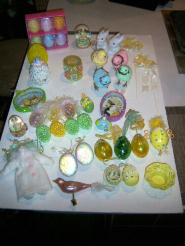 Vtg  ADORABLE HUGE LOT VARIETY NEAT UNUSUAL  EASTER ORNAMENTS & MORE DECOR