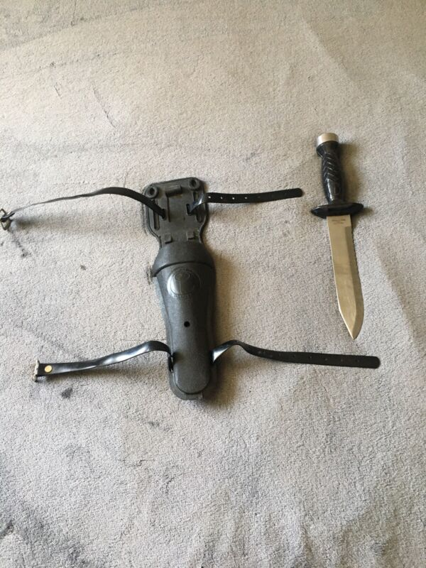 Vintage AQUA LUNG US Diver Stainless Steel Diving Knife w/ Sheath