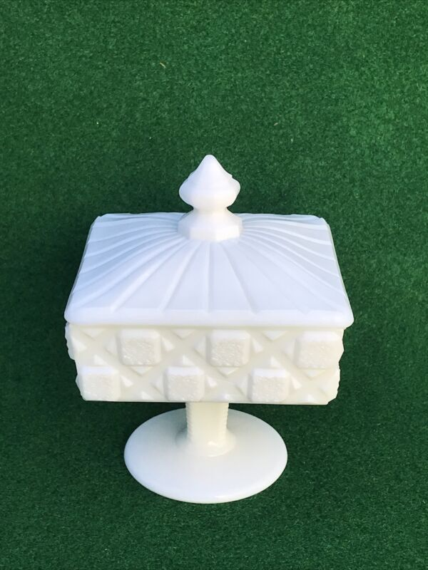 Vintage WESTMORELAND Square Footed Milk Glass Candy Dish with Lid