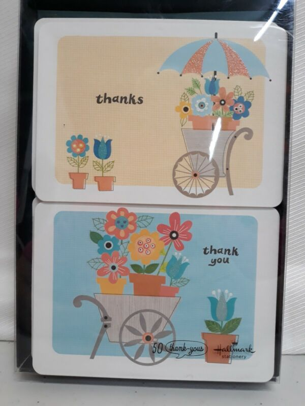 1 PACK HALLMARK STATIONARY 50 THANK YOU CARDS & ENVELOPES IN EACH 2 DESIGNS