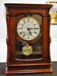 New Bulova B1909 Chiming Abbeville Pendulum Mantel Clock with Walnut Cabinet