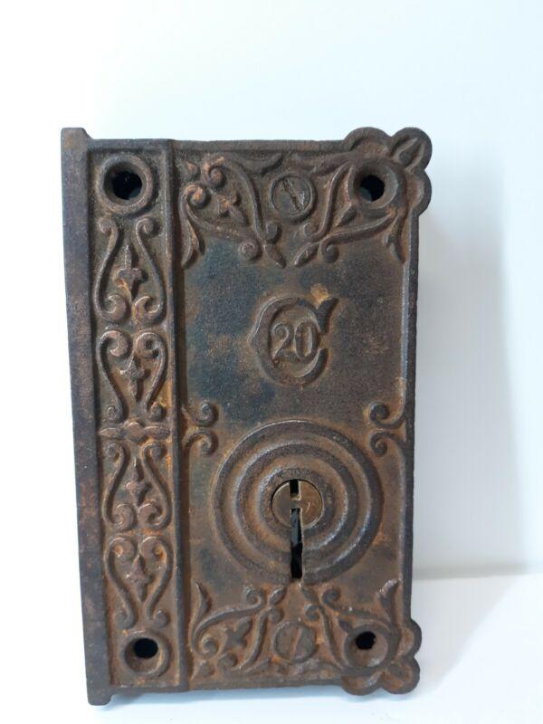 Antique Ornate Cast Iron Hardware C20 Door Rim Lock
