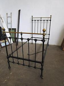 C38067 Antique Black Cast Iron Brass Single Bed 2 AVAILABLE Mount Barker Mount Barker Area Preview