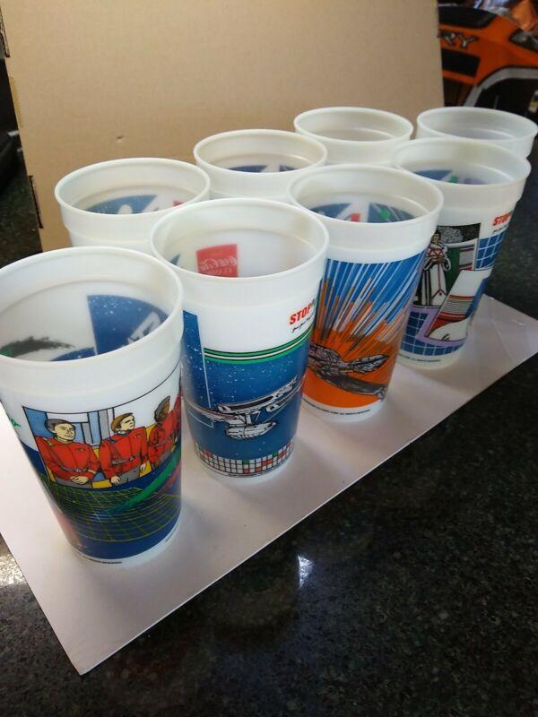 Star Trek IV The Voyage Home Coca Cola Stop N Go Collector Cups Glow 8 Vintage