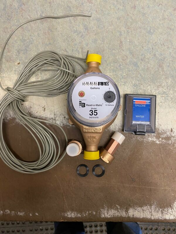 Badger 3/4x 3/4 M35 Brass Water Meter Pulse With Remote. USG- With Coupling|wire