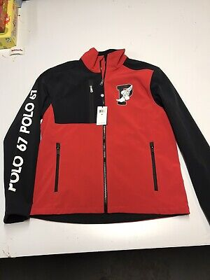 POLO RALPH LAUREN Mens P-Wing Varsity Track Jacket Water Repel Black Red M $228