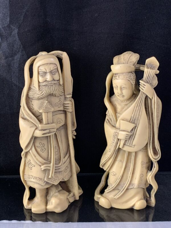Vintage Hand Carved Asian Man & Woman Figurines Statues Handcrafted In Italy