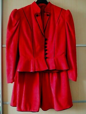 Damen Trachten Kostüm Gr 36/38 Wildleder rot Lederkostüm - Vintage Damen Trachten