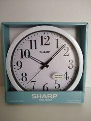 NEW Sharp Wall Clock, Metal Hands, Glass Lens, White, SPC3035B