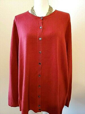 NWT Croft & Barrow Womens Red Extra Cozy Cardigan Button Sweater Plus 2X (Womens Cozy Cardigan)
