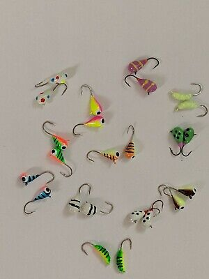 Details about  /12 NEW glow grubs JIGS fishing SIZE 12  ICE ASSORTED COLORS for rod reel line HT