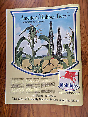 1943 Mobil Oil Gas Ad  America's Rubber Trees  Ready to Be Tapped