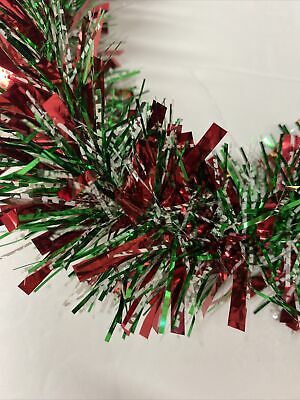 Vintage Christmas Tree Tinsel Garland Shiny Red Green White 15 ' one piece