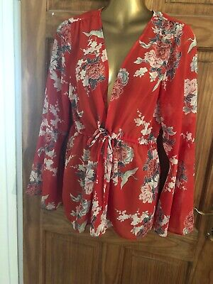 Boho Ibiza Sheer Kimono Cover Up Jacket Top. Immaculate 14 12