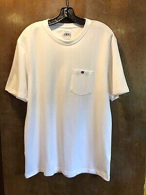 NWT ZARA MAN White Pique Knit Cotton T-Shirt Front Pocket Sz L