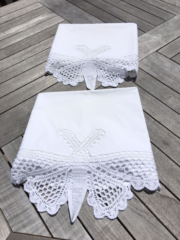 2 Antique White Pillow Cases Hand Made Crocheted Butterflies Cottage Bedding.Fun