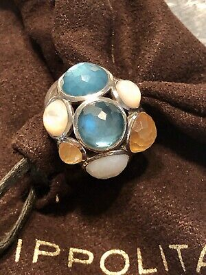 NEW $795 IPPOLITA Silver Mother Of Pearl & Quartz Constellation Dome Ring Size 7